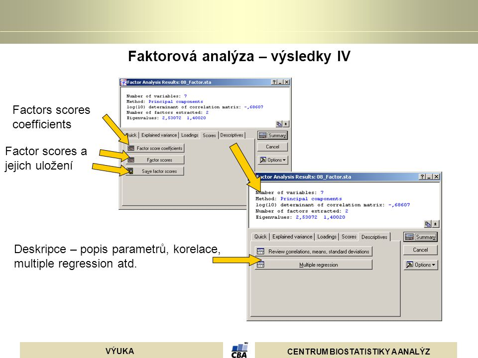 Faktorová analýza – výsledky IV