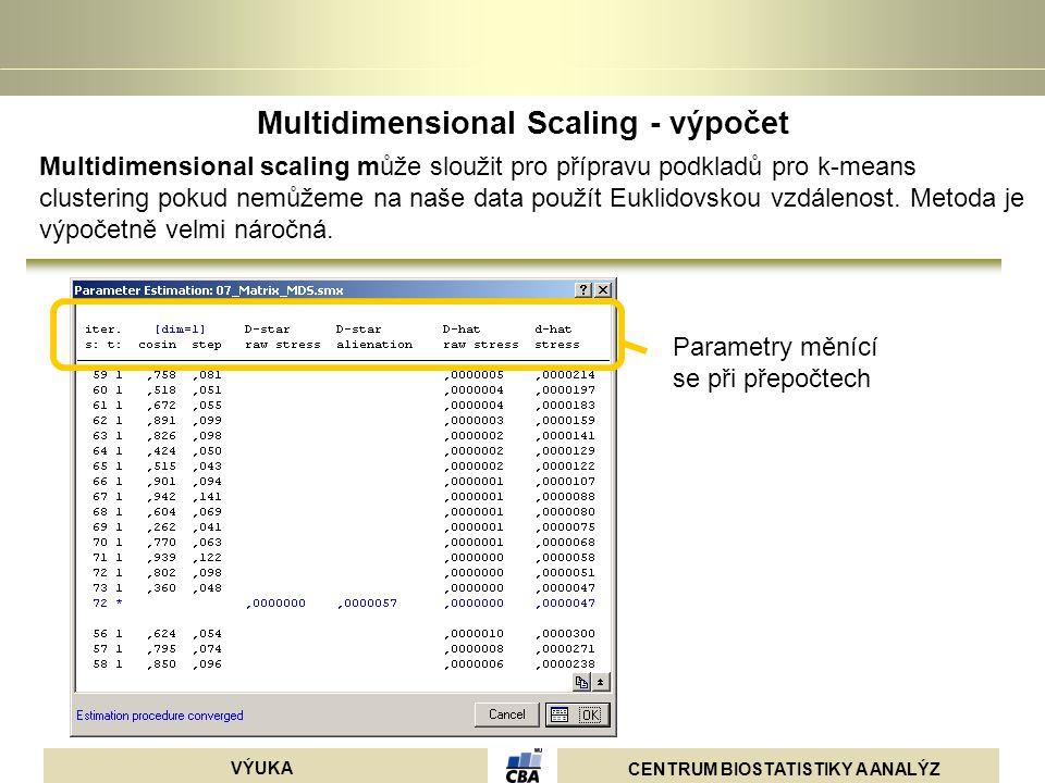 Multidimensional Scaling - výpočet