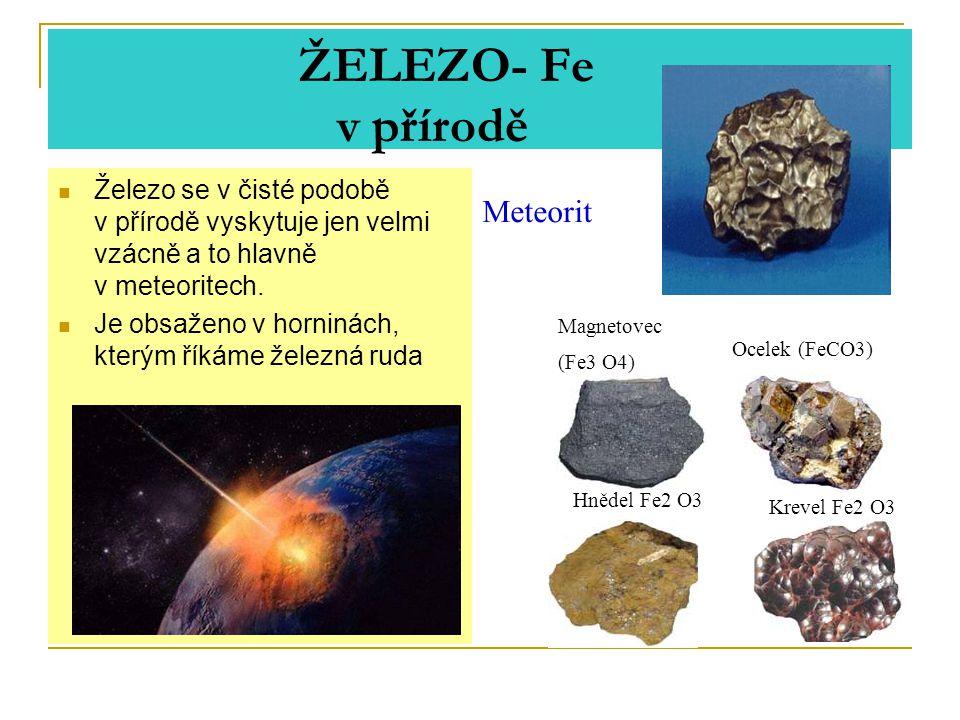 ŽELEZO- Fe v přírodě Meteorit