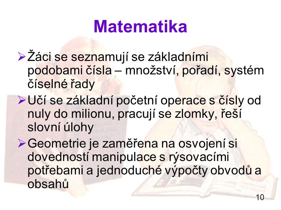 Matematika Žáci se seznamují se základními podobami čísla – množství, pořadí, systém číselné řady.