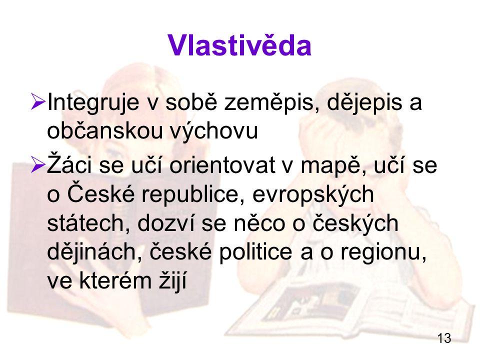 Vlastivěda Integruje v sobě zeměpis, dějepis a občanskou výchovu