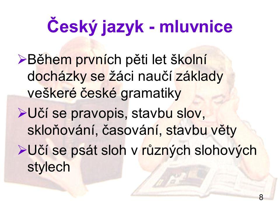 Český jazyk - mluvnice Během prvních pěti let školní docházky se žáci naučí základy veškeré české gramatiky.
