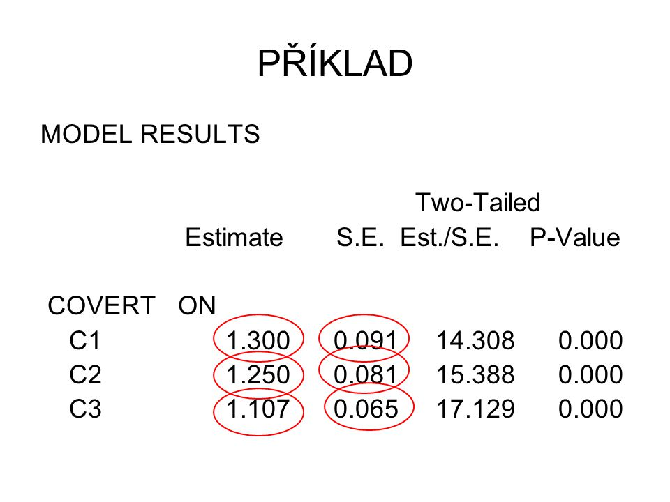 PŘÍKLAD MODEL RESULTS Two-Tailed Estimate S.E. Est./S.E. P-Value