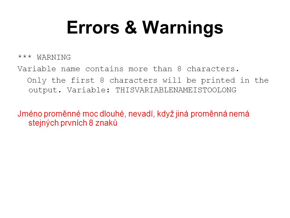 Errors & Warnings