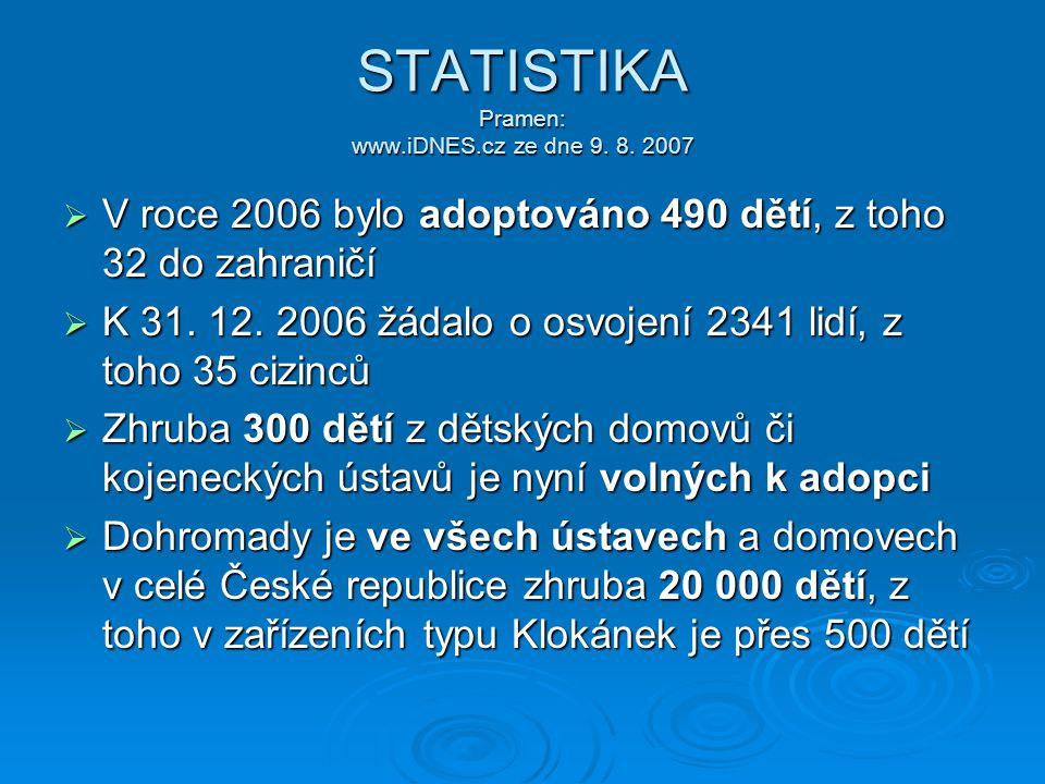 STATISTIKA Pramen: www.iDNES.cz ze dne 9. 8. 2007