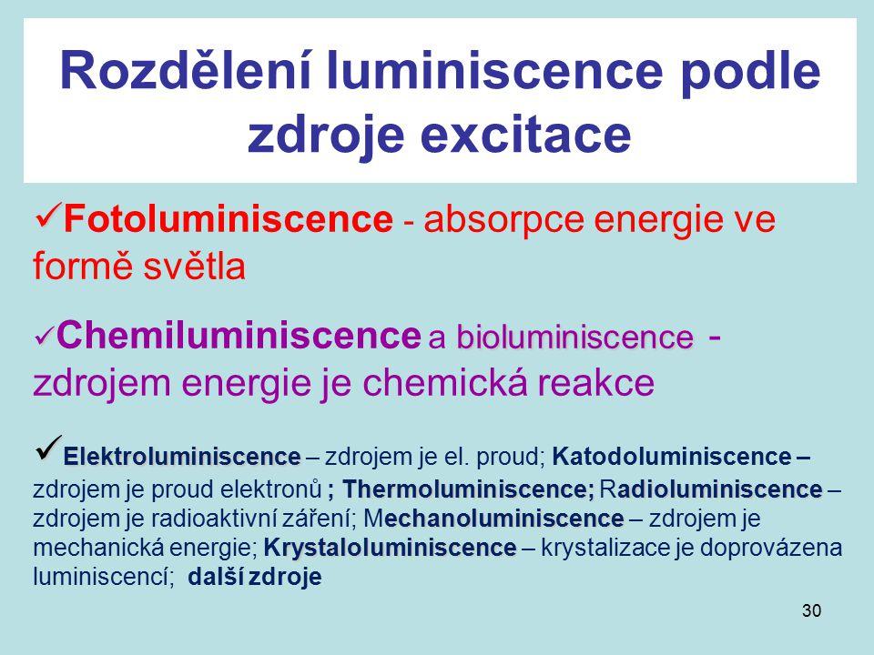 Rozdělení luminiscence podle zdroje excitace