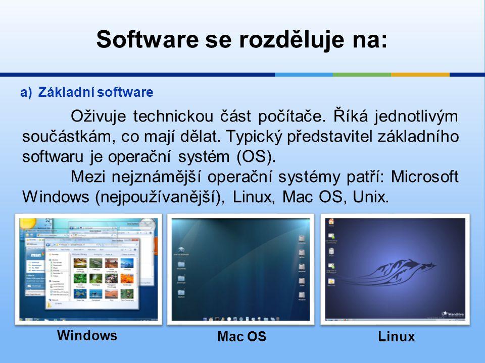 Software se rozděluje na: