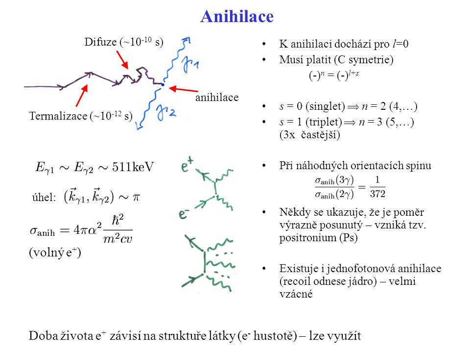 Anihilace Difuze (~10-10 s) K anihilaci dochází pro l=0. Musí platit (C symetrie) (-)n = (-)l+s.