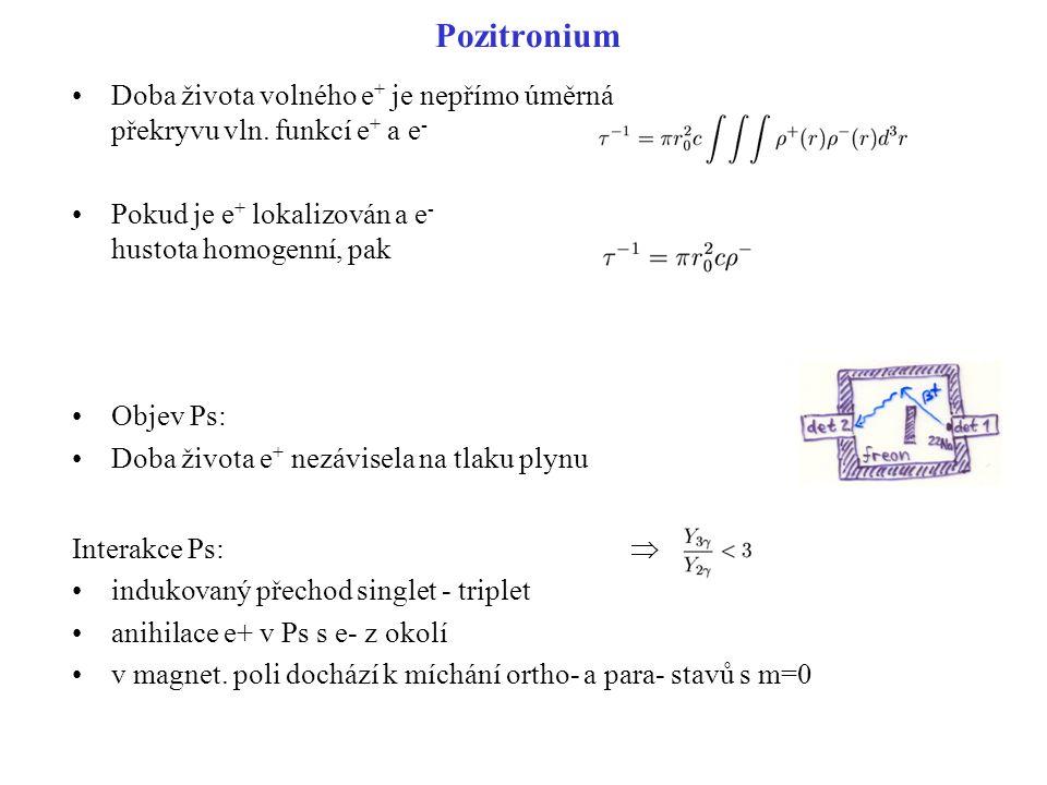 Pozitronium Doba života volného e+ je nepřímo úměrná překryvu vln. funkcí e+ a e- Pokud je e+ lokalizován a e- hustota homogenní, pak.