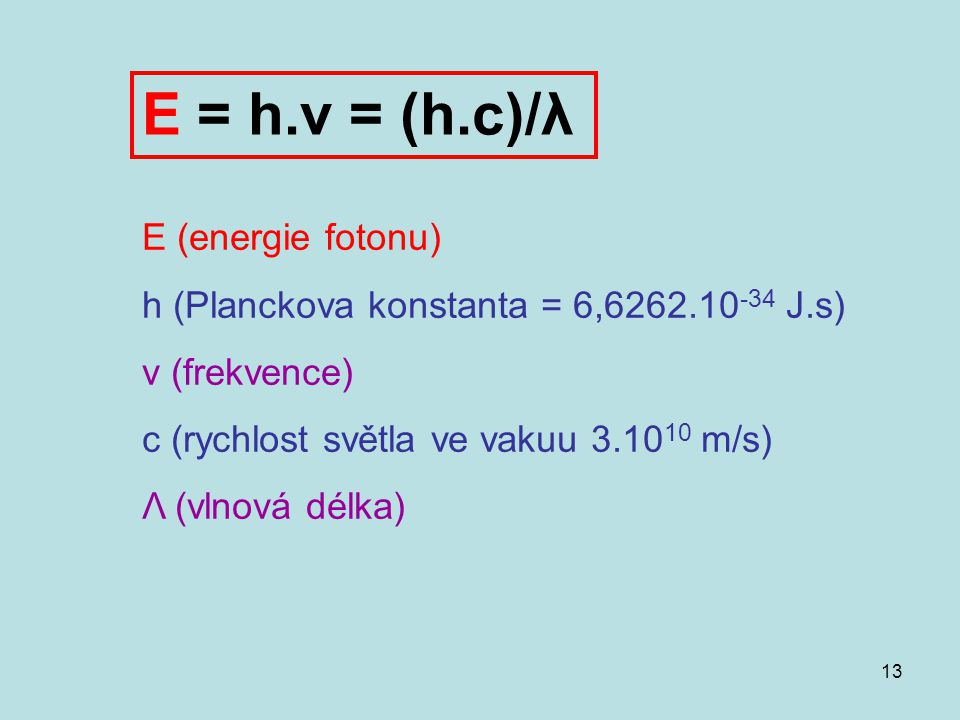 E = h.ν = (h.c)/λ E (energie fotonu)