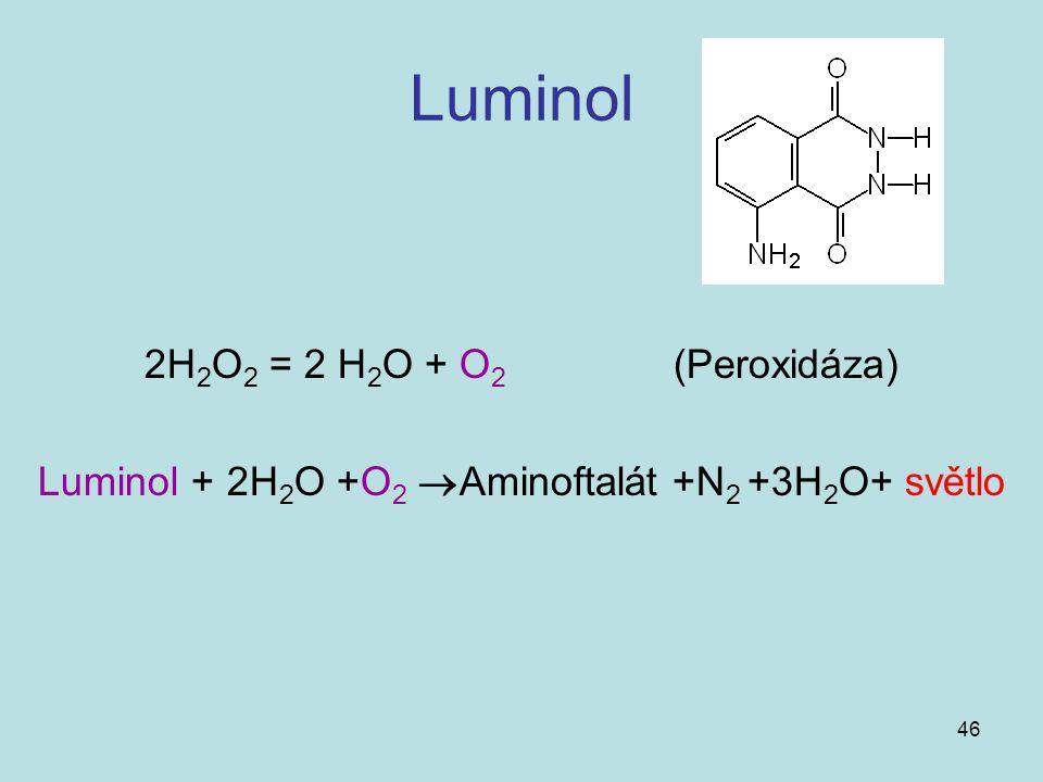 Luminol + 2H2O +O2 Aminoftalát +N2 +3H2O+ světlo