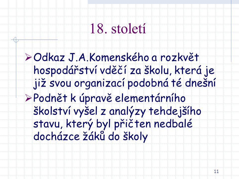 18. století Odkaz J.A.Komenského a rozkvět hospodářství vděčí za školu, která je již svou organizací podobná té dnešní.
