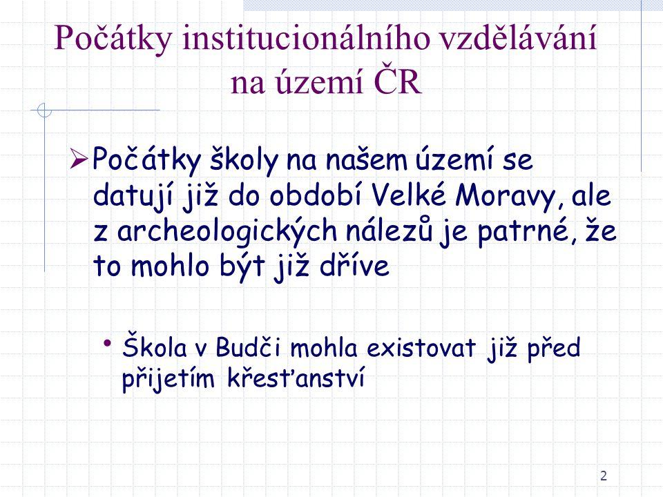 Počátky institucionálního vzdělávání na území ČR