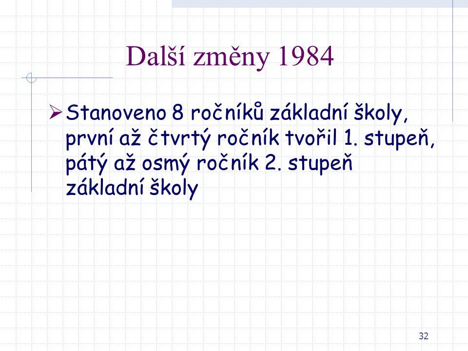 Další změny 1984 Stanoveno 8 ročníků základní školy, první až čtvrtý ročník tvořil 1.