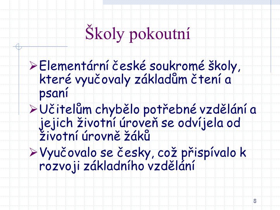 Školy pokoutní Elementární české soukromé školy, které vyučovaly základům čtení a psaní.