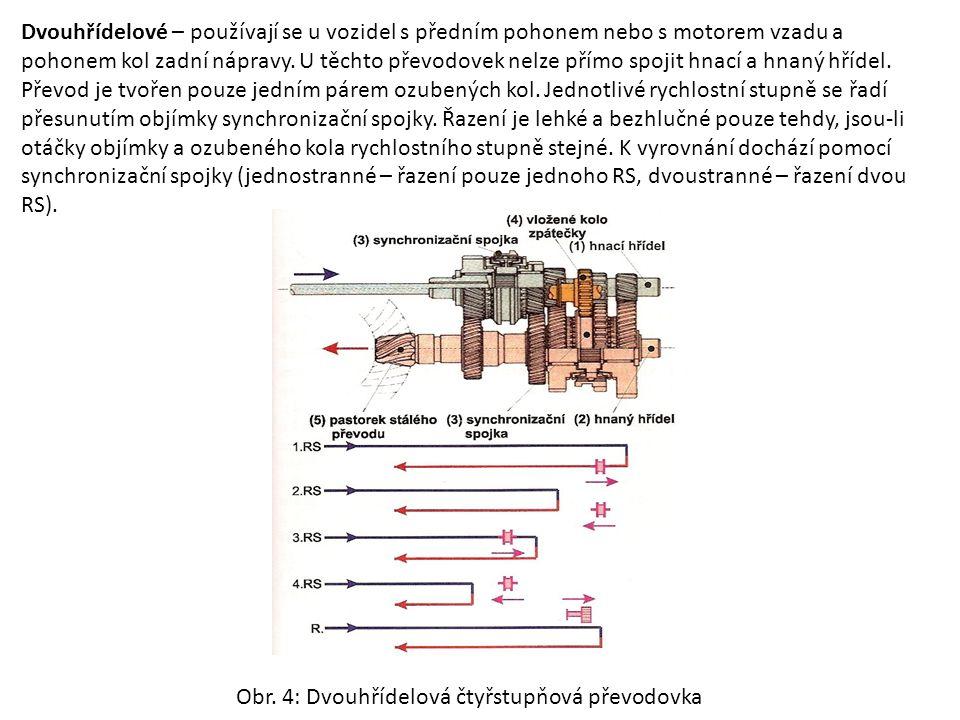 Dvouhřídelové – používají se u vozidel s předním pohonem nebo s motorem vzadu a pohonem kol zadní nápravy. U těchto převodovek nelze přímo spojit hnací a hnaný hřídel. Převod je tvořen pouze jedním párem ozubených kol. Jednotlivé rychlostní stupně se řadí přesunutím objímky synchronizační spojky. Řazení je lehké a bezhlučné pouze tehdy, jsou-li otáčky objímky a ozubeného kola rychlostního stupně stejné. K vyrovnání dochází pomocí synchronizační spojky (jednostranné – řazení pouze jednoho RS, dvoustranné – řazení dvou RS).