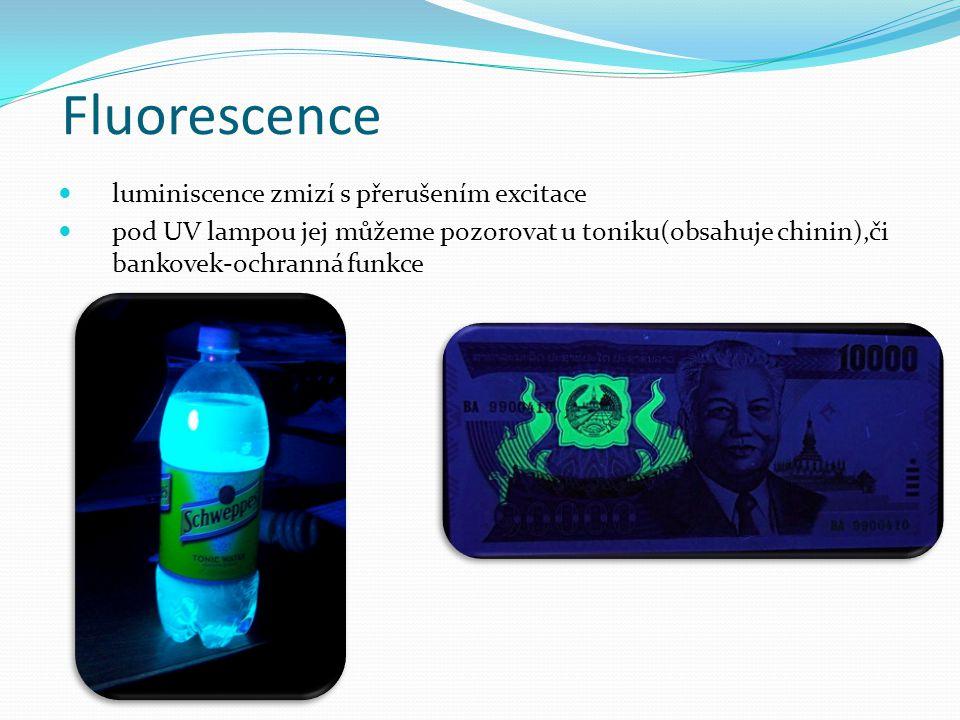 Fluorescence luminiscence zmizí s přerušením excitace