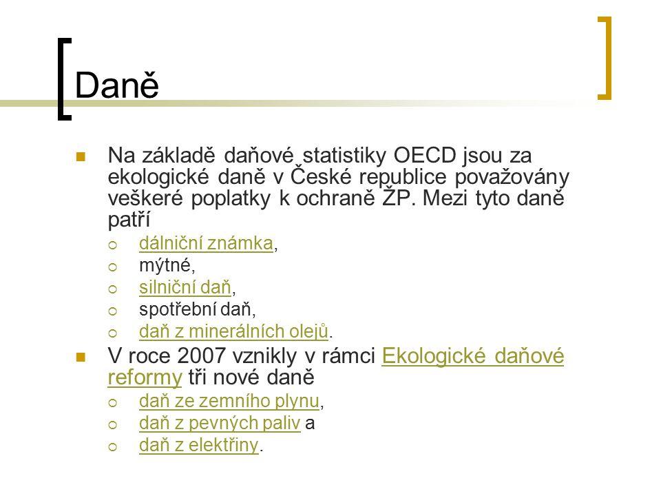 Daně Na základě daňové statistiky OECD jsou za ekologické daně v České republice považovány veškeré poplatky k ochraně ŽP. Mezi tyto daně patří.
