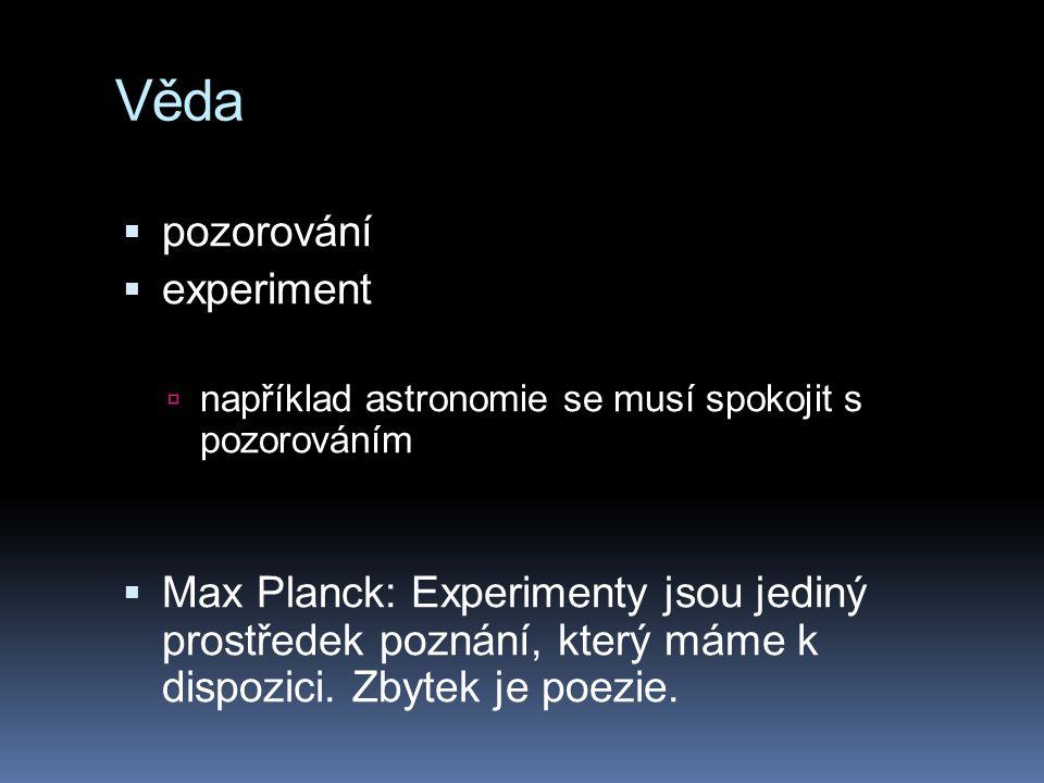 Věda pozorování experiment