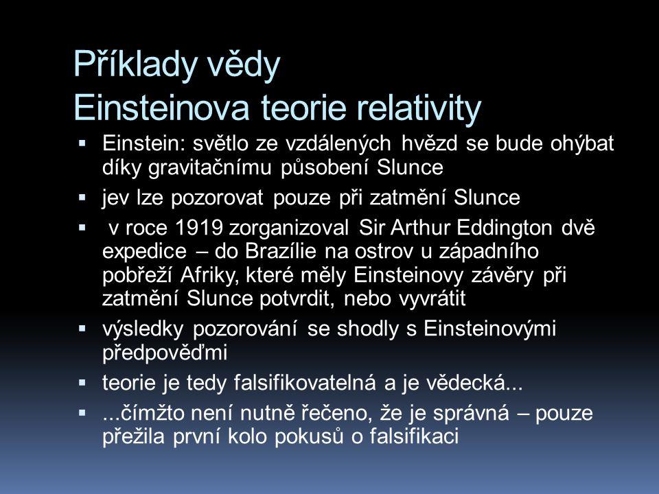 Příklady vědy Einsteinova teorie relativity