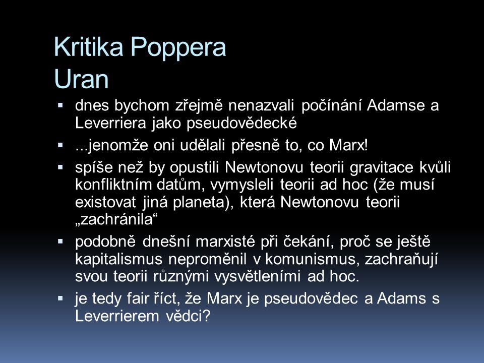 Kritika Poppera Uran dnes bychom zřejmě nenazvali počínání Adamse a Leverriera jako pseudovědecké.