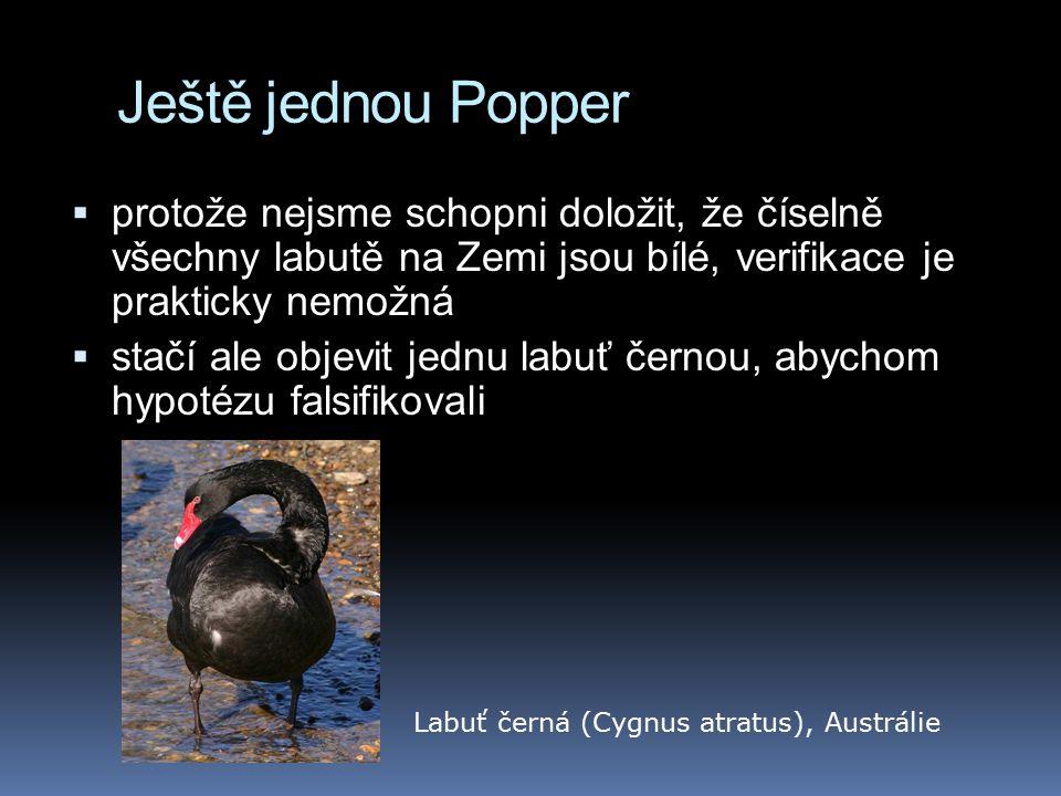 Ještě jednou Popper protože nejsme schopni doložit, že číselně všechny labutě na Zemi jsou bílé, verifikace je prakticky nemožná.