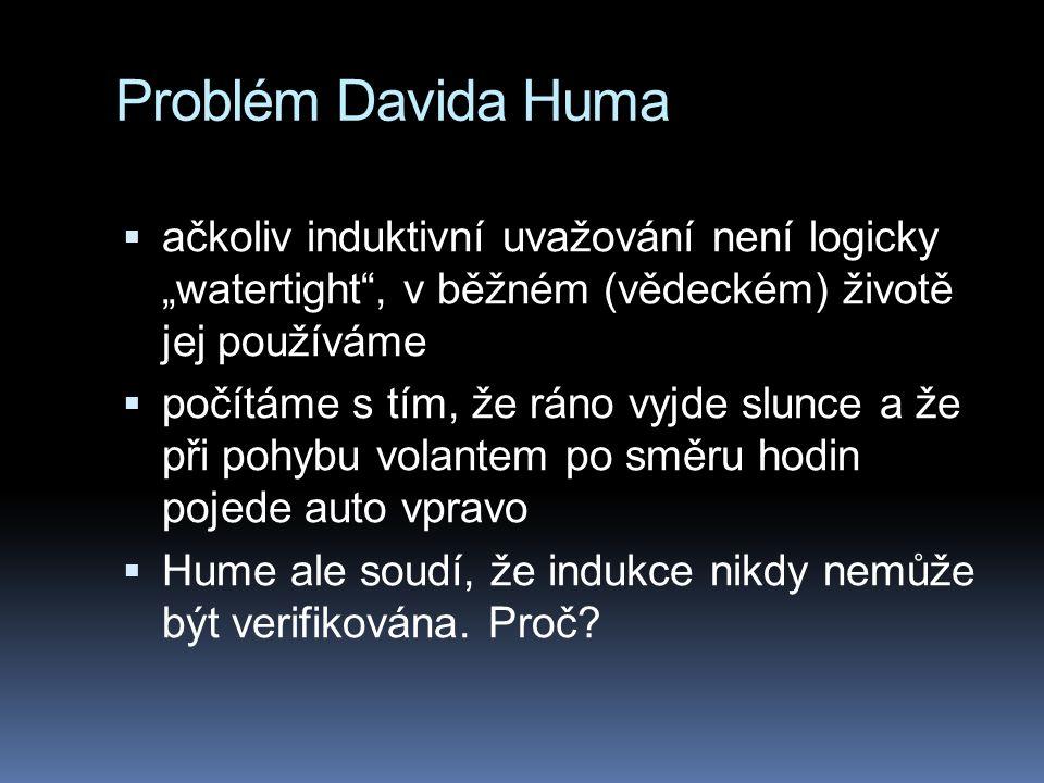"""Problém Davida Huma ačkoliv induktivní uvažování není logicky """"watertight , v běžném (vědeckém) životě jej používáme."""