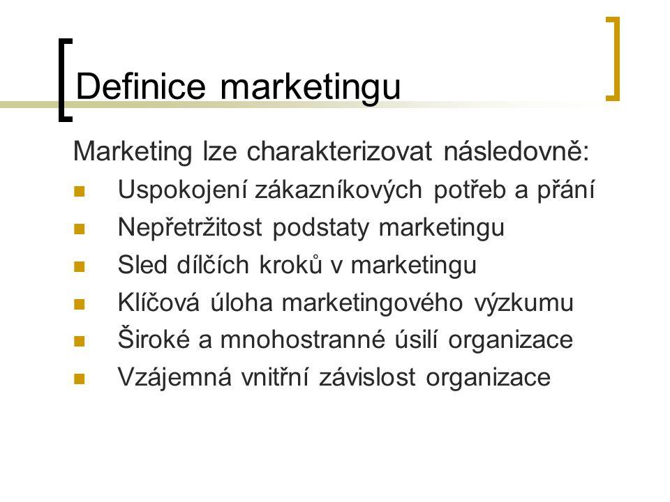 Definice marketingu Marketing lze charakterizovat následovně: