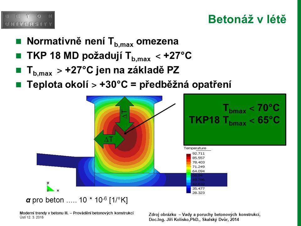 Betonáž v létě Normativně není Tb,max omezena