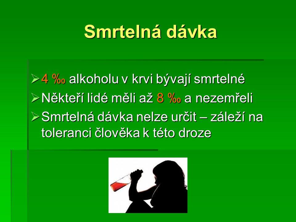 Smrtelná dávka 4 ‰ alkoholu v krvi bývají smrtelné