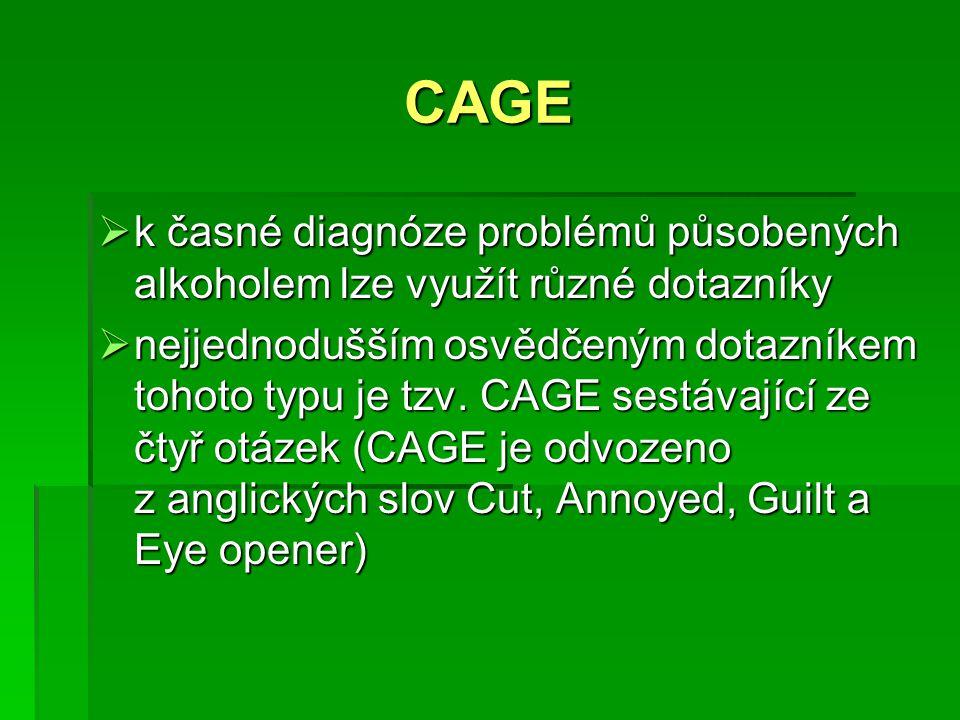 CAGE k časné diagnóze problémů působených alkoholem lze využít různé dotazníky.
