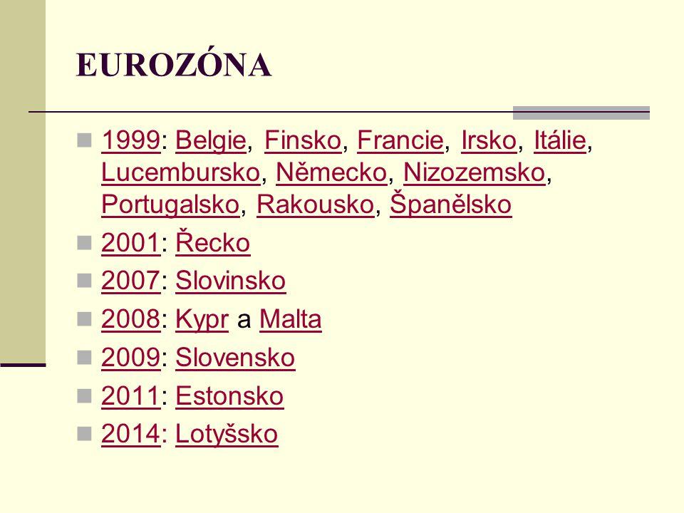 EUROZÓNA 1999: Belgie, Finsko, Francie, Irsko, Itálie, Lucembursko, Německo, Nizozemsko, Portugalsko, Rakousko, Španělsko.