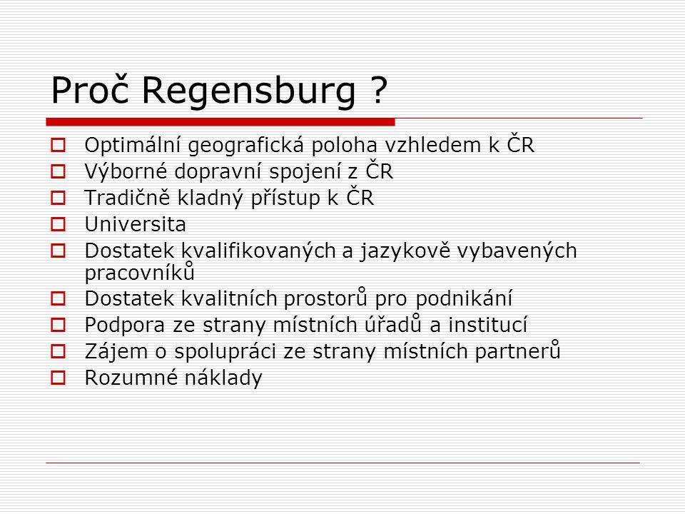 Proč Regensburg Optimální geografická poloha vzhledem k ČR