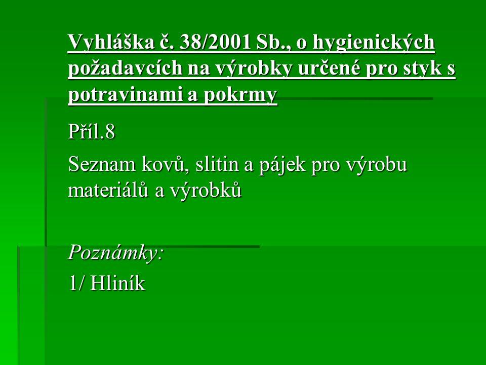 Vyhláška č. 38/2001 Sb., o hygienických požadavcích na výrobky určené pro styk s potravinami a pokrmy