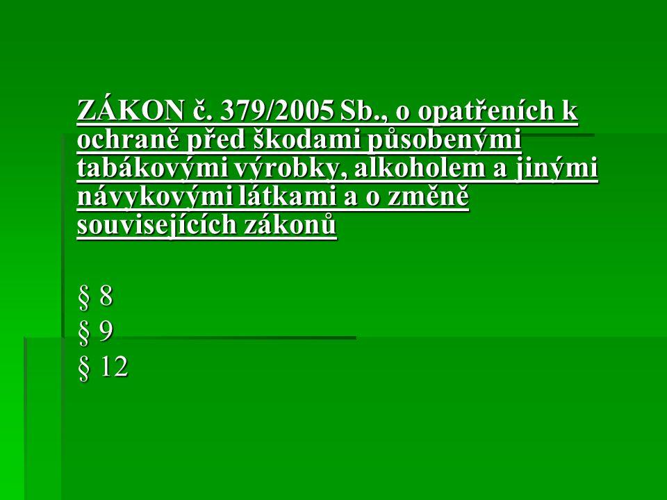 ZÁKON č. 379/2005 Sb., o opatřeních k ochraně před škodami působenými tabákovými výrobky, alkoholem a jinými návykovými látkami a o změně souvisejících zákonů