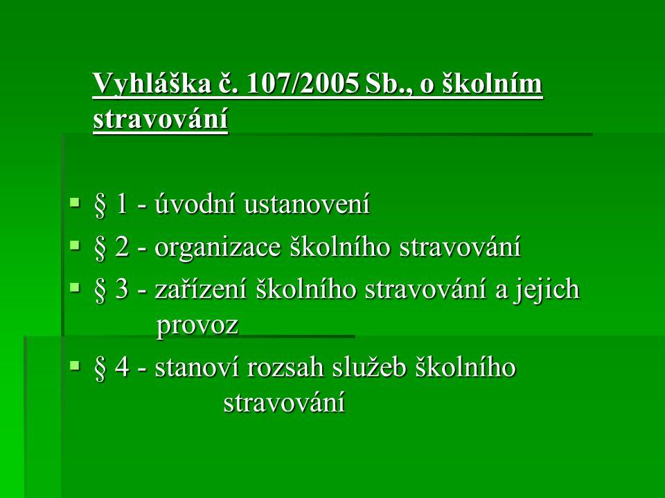 Vyhláška č. 107/2005 Sb., o školním stravování
