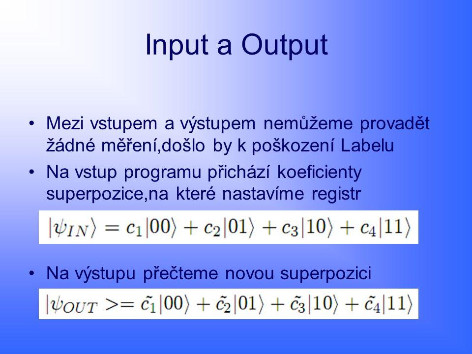 Input a Output Mezi vstupem a výstupem nemůžeme provadět žádné měření,došlo by k poškození Labelu.