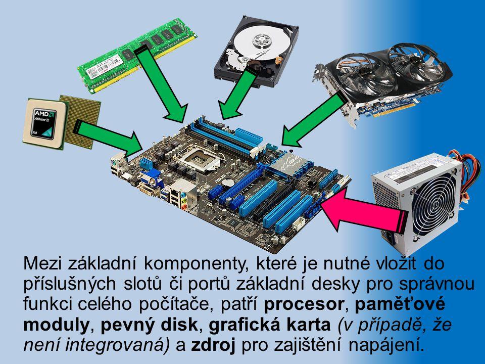 Mezi základní komponenty, které je nutné vložit do příslušných slotů či portů základní desky pro správnou funkci celého počítače, patří procesor, paměťové moduly, pevný disk, grafická karta (v případě, že není integrovaná) a zdroj pro zajištění napájení.