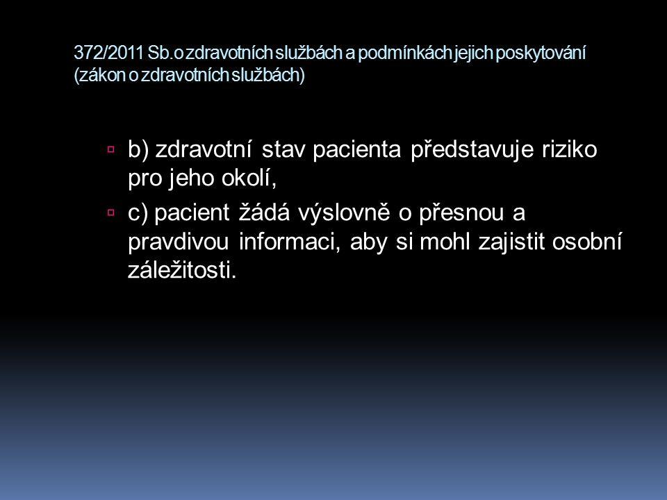 b) zdravotní stav pacienta představuje riziko pro jeho okolí,