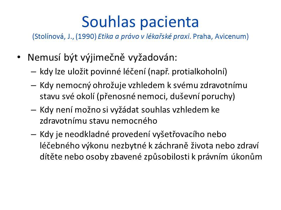 Souhlas pacienta (Stolínová, J., (1990) Etika a právo v lékařské praxi. Praha, Avicenum)