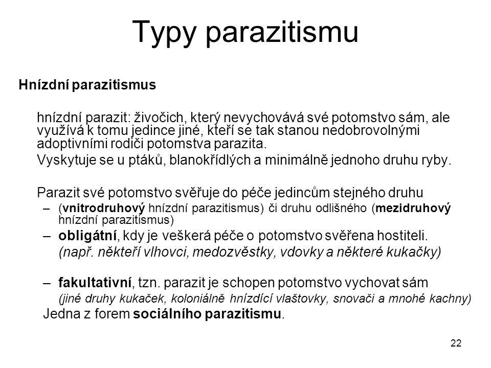 Typy parazitismu Hnízdní parazitismus