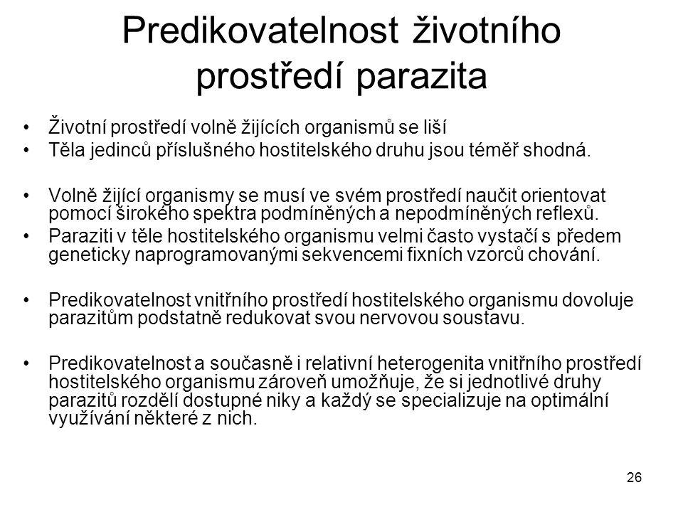 Predikovatelnost životního prostředí parazita