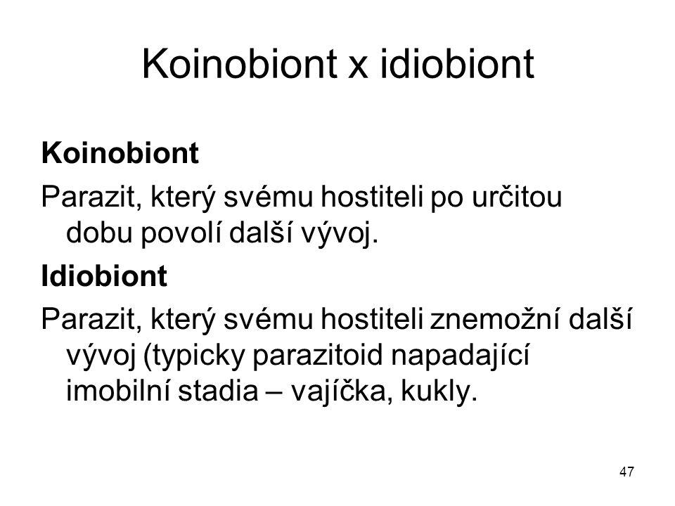 Koinobiont x idiobiont