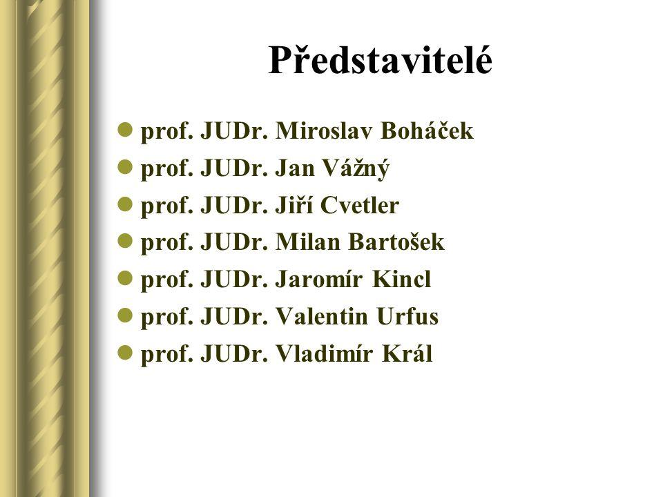 Představitelé prof. JUDr. Miroslav Boháček prof. JUDr. Jan Vážný