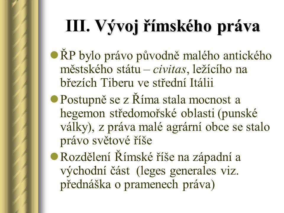 III. Vývoj římského práva