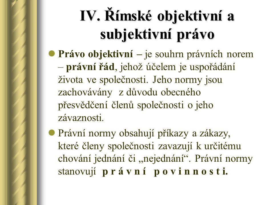 IV. Římské objektivní a subjektivní právo