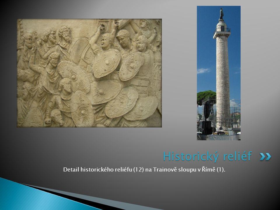Detail historického reliéfu (12) na Trainově sloupu v Římě (1).