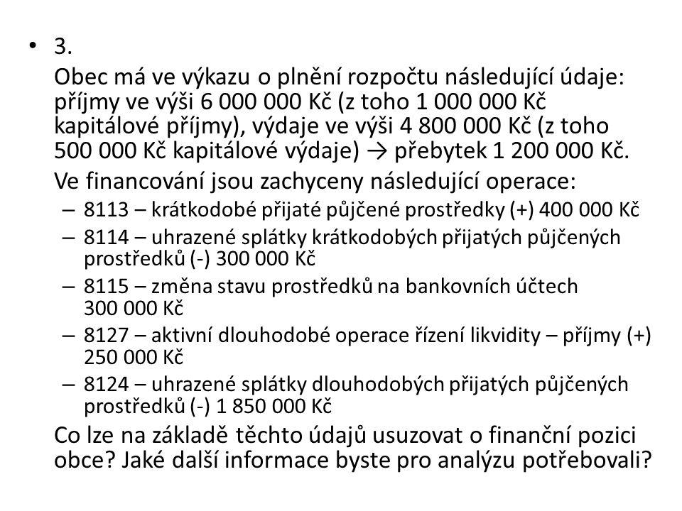 Ve financování jsou zachyceny následující operace: