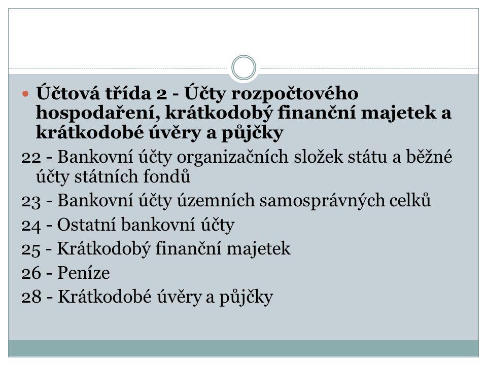 Účtová třída 2 - Účty rozpočtového hospodaření, krátkodobý finanční majetek a krátkodobé úvěry a půjčky