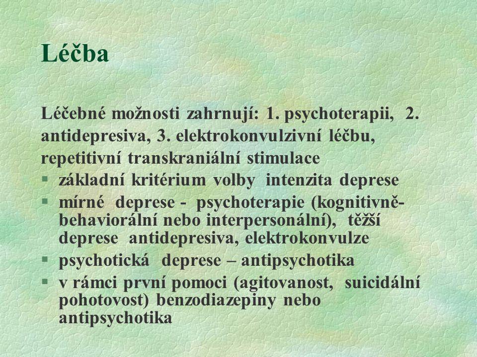 Léčba Léčebné možnosti zahrnují: 1. psychoterapii, 2.